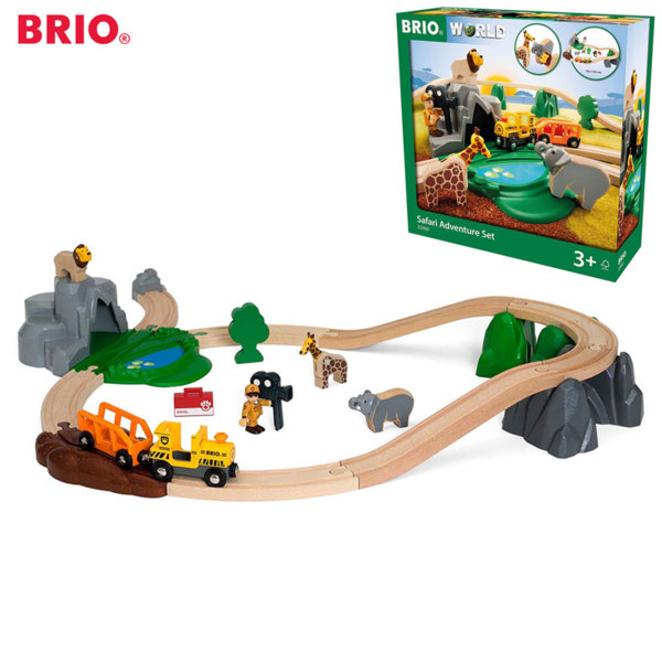 Brio Дървено влакче и релси Safari adventure 33960
