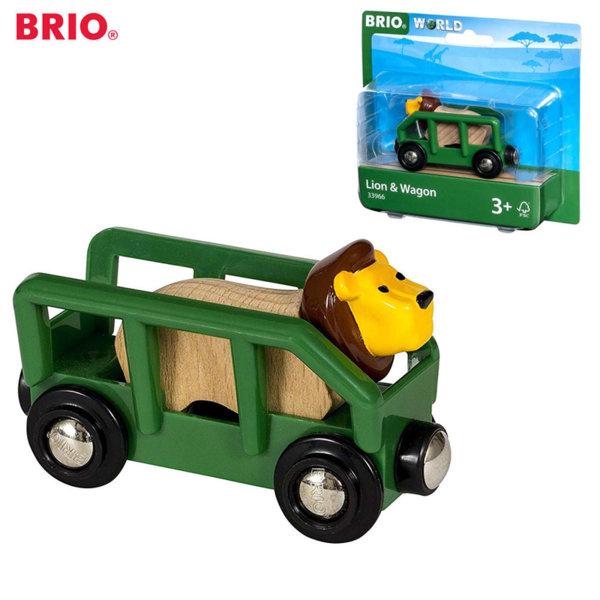 Brio Дървен вагон с лъв 33966
