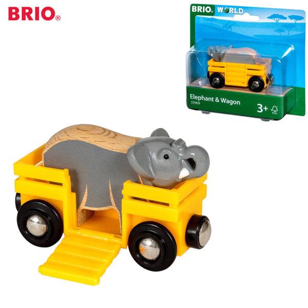 Brio Дървен вагон със слонче 33969