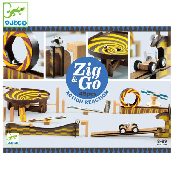 Djeco Дървено домино конструктор Zig & Go 45 части DJ05643