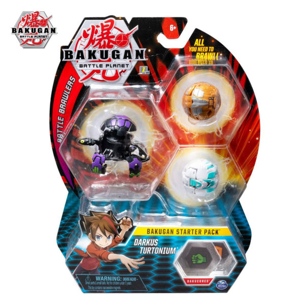 Bakugan Battle Planet Комплект 3 топчета Darkus Turtonium 6045144