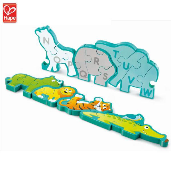 Hape Дървен 3D пъзел Животните от джунглата и азбука 2в1 H1627