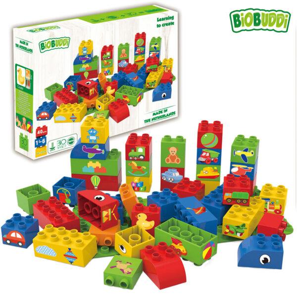 BiOBUDDi Детски строител Био Бъди Образователни кубчета за момчета 40бр. BB0006
