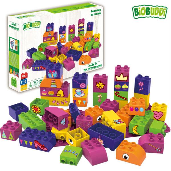 BiOBUDDi Детски строител Био Бъди Образователни кубчета за момичета 40бр. BB0007