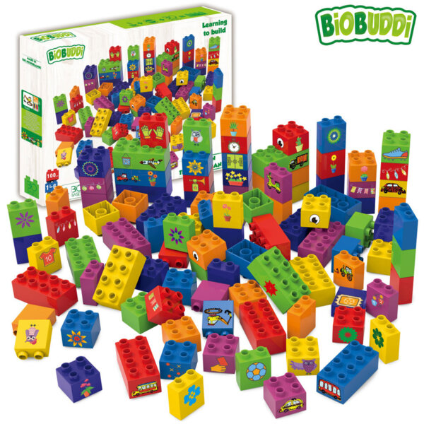 BiOBUDDi Детски строител Био Бъди Образователни кубчета 100бр. BB0013