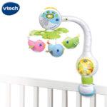 Vtech Музикална въртележка за легло и количка Птичета с гласов сензор и дистанционно V513103