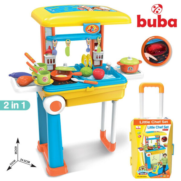 Buba Детска кухня в куфар 2в1 със звукови и светлинни ефекти Little Chef 008-926A