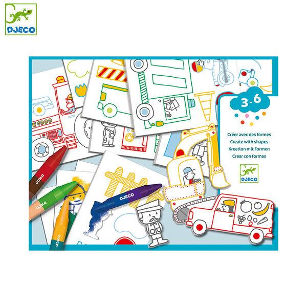 Djeco Комплект за рисуване и оцветяване с шаблони Коли DJ08995