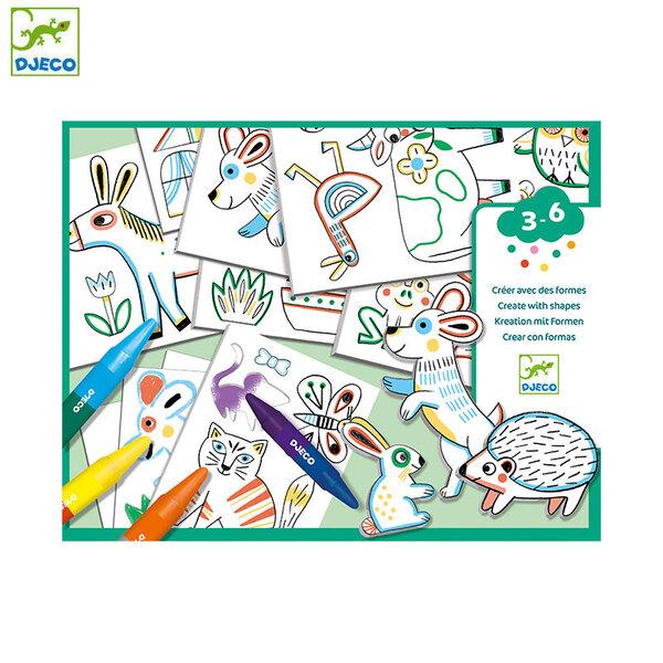 Djeco Комплект за рисуване и оцветяване с шаблони Животни DJ08997