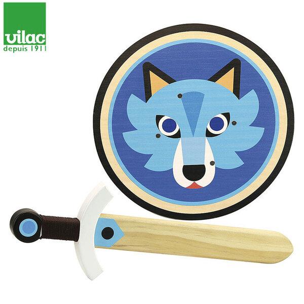 Vilac Комплект дървен меч и щит Wolf 2960