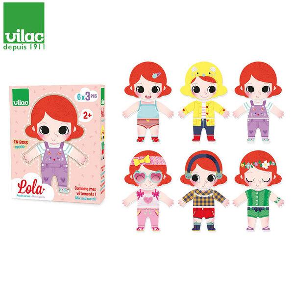 Vilac Детски дървен пъзел с магнитни дрехи Lola 4660