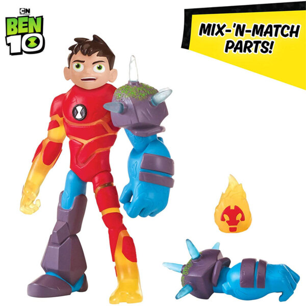 Ben10 Екшън фигура Бен Тен Omni Glitch Heroes Ben-Heatblast-Shockrock 76100