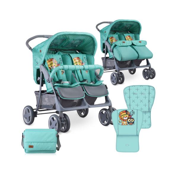 Lorelli Детска количка за близнаци TWIN GREEN INDIANS 10020071920