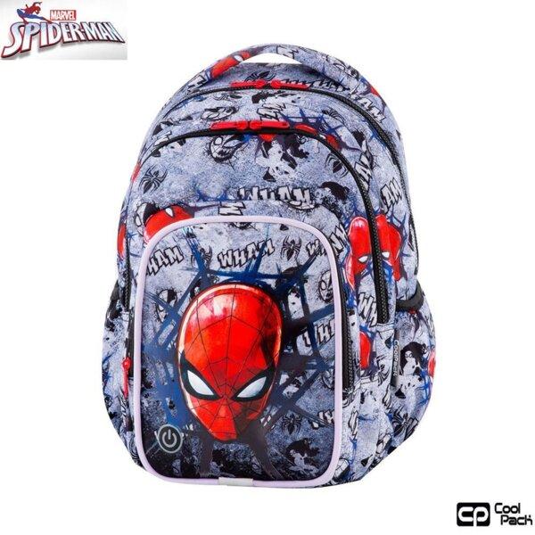 Cool Pack Spark L LED Ученическа раница светеща Spiderman Black B45304
