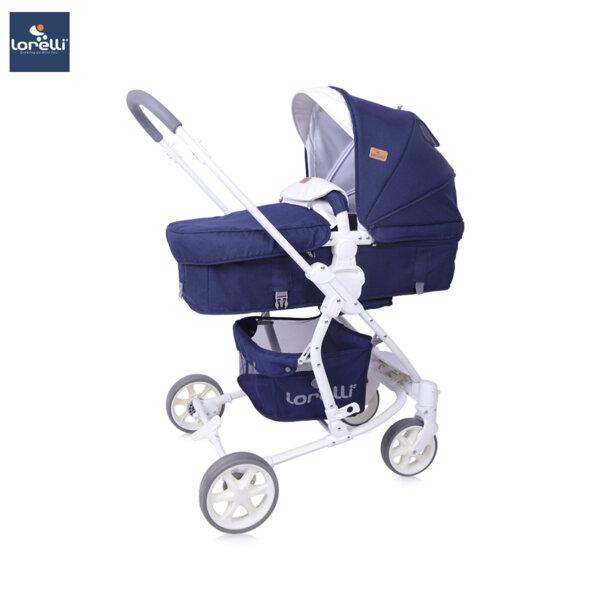 Lorelli Детска количка ASTER DARK BLUE FLOWERS 10021371959