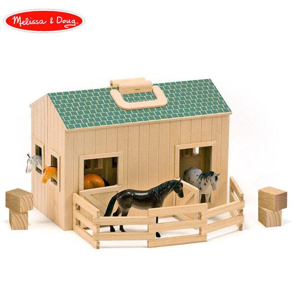 Melissa&Doug Дървена сгъваема конюшня с коне 13704