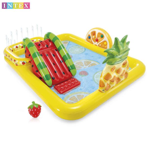 Intex Надуваем център за игра с басейн, пъразлка и фонтан Плодове 57158
