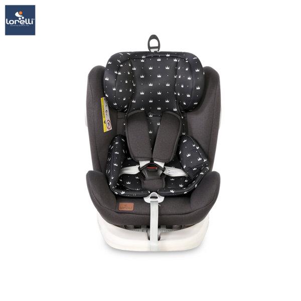 Lorelli - Столче за кола LUSSO SPS ISOFIX BLACK CROWNS 10071112013