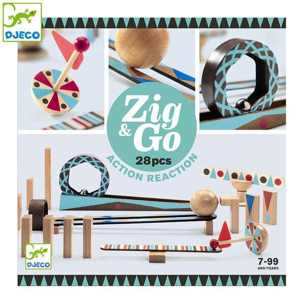 Djeco Дървено домино конструктор Zig & Go 28 части DJ05640