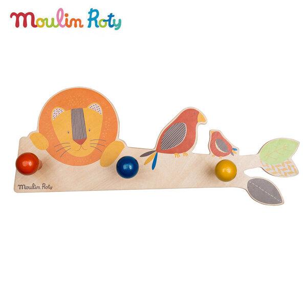 Moulin Roty Детска дървена закачалка Лъв 658133