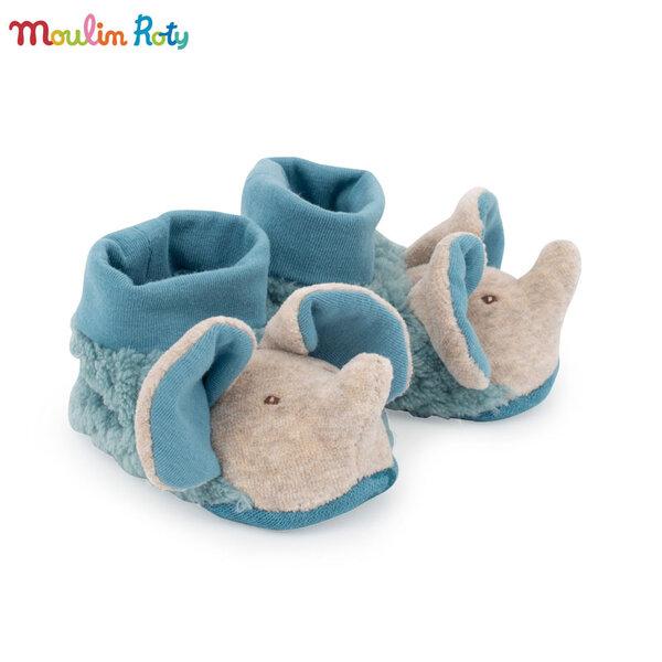 Moulin Roty Бебешки пантофи 0-6м. слонче 669011