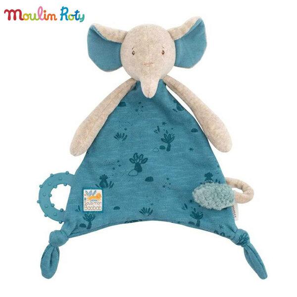 Moulin Roty Плюшена играчка кърпичка слонче 669016