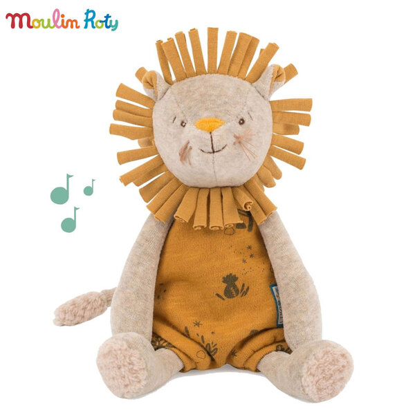 Moulin Roty Плюшено музикално лъвче Sous mon baobab 28см 669041