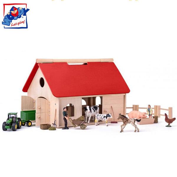 Woody Дървена ферма с животни и трактор Siku 90260