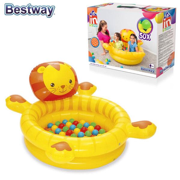 Bestway Надуваем детски кът Лъвче с топки 52261