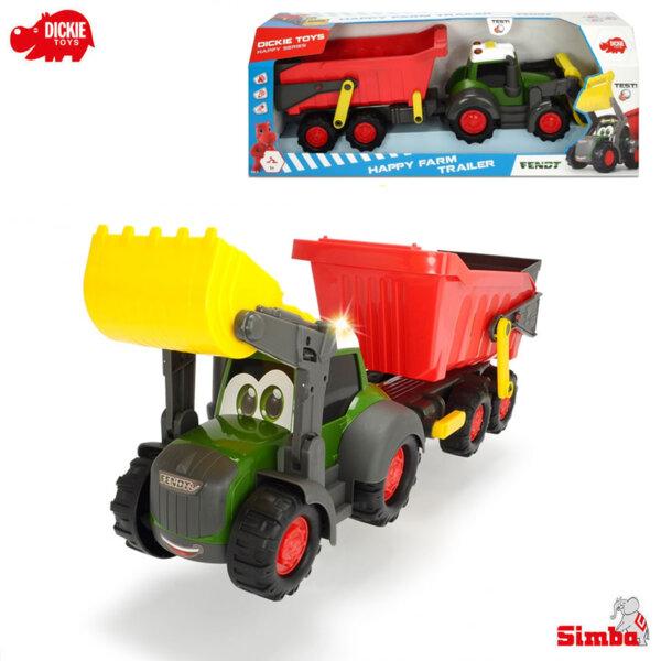 Simba Dickie Трактор с голямо ремарке звук и светлини Happy Farm 203819002