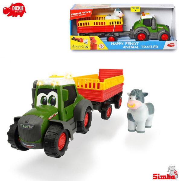 Simba Dickie Трактор с ремарке за животни, звук и светлини Happy Fendt 203815004