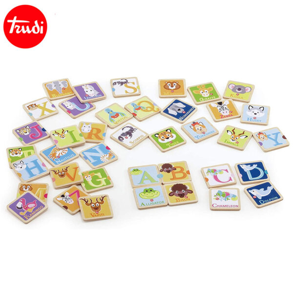 Trudi Дървена игра Мемо с животни Научи азбуката 88013