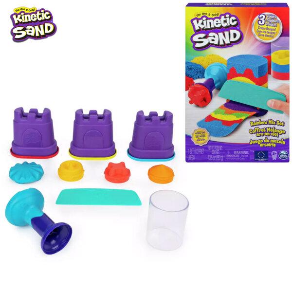 Spin Master Kinetic Sand Комплект кинетичен пясък с инструменти Rainbow Mix 6053691