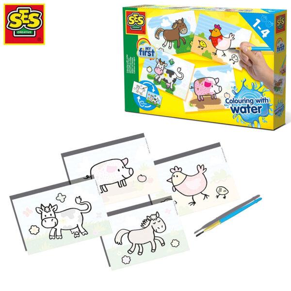 SES Creative Рисувай с вода Животните от фермата 14455