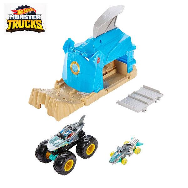 Hot Wheels Monster Trucks Изстрелвачка с 2 колички Shark Wreak GKY01