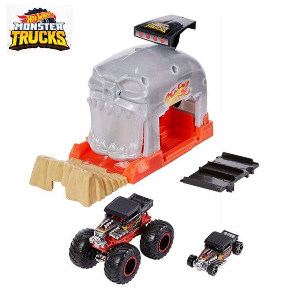 Hot Wheels Monster Trucks Изстрелвачка с 2 колички Bone Shaker GKY01