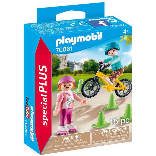 Playmobil Фигурки с аксесоари Деца с ролери и велосипед 70061