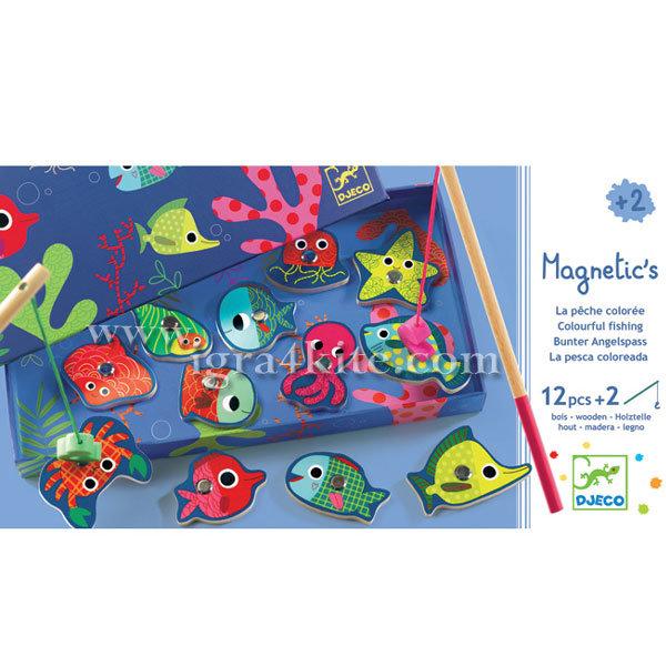 Djeco - Игра с дървени магнити Colored fishing 01653
