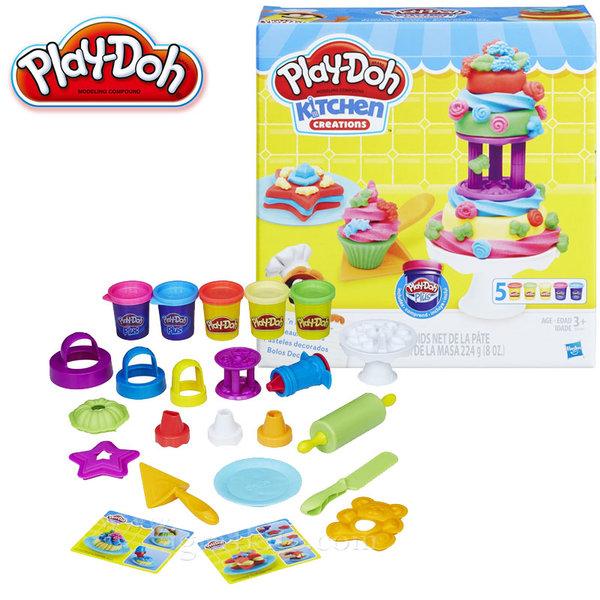 PlayDoh - Детски комплект Забавления в кухнята Направи кексчета и торта b9741