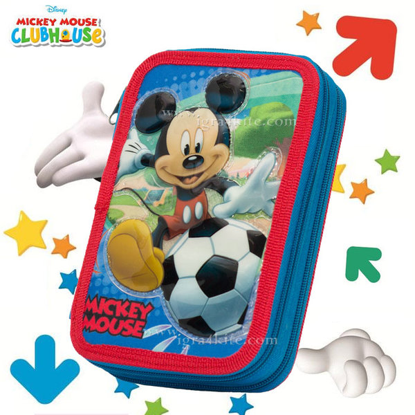 Disney Mickey - Ученически несесер троен, зареден Мики Маус 1031