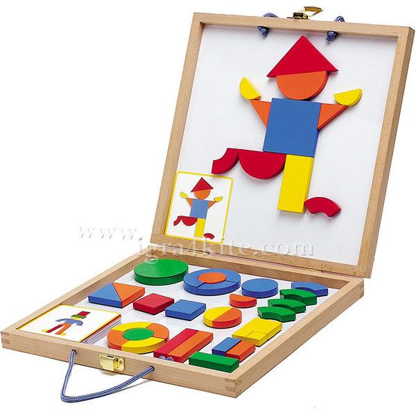 Djeco - Игра с дървени магнити Boxed set Geoform 03130