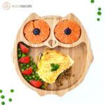 Eco Rascals Детска бамбукова чиния Бухал с оранжева основа 55113