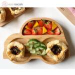 Eco Rascals Детска бамбукова чиния Количка със зелена основа 55342