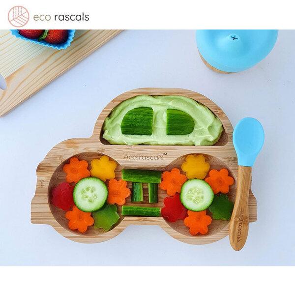 Eco Rascals Детска бамбукова чиния Количка със синя основа 55335