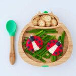 Eco Rascals Детска бамбукова чиния Количка с лилава основа 55311