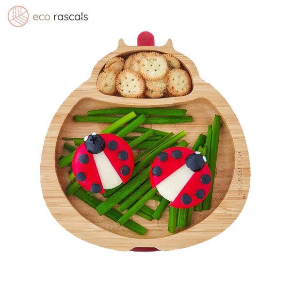 Eco Rascals Детска бамбукова чиния Калинка с лилава основа 55311