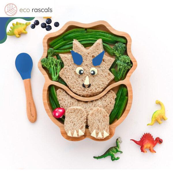 Eco Rascals Детска бамбукова чиния Динозавър със синя основа 23106