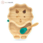 Eco Rascals Детска бамбукова чиния Динозавър със зелена основа 23090