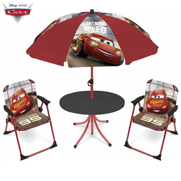 Disney Cars Детска градинска маса със столчета и чадър Колите 12638
