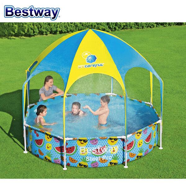 Bestway Детски сглобяем басейн Steel Pro със сенник и пръскалка 244х51см 56432